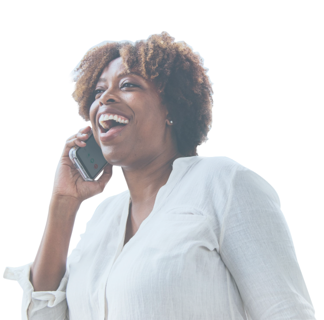 Lady Laughing on phone